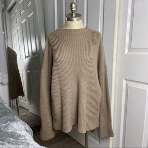 Forever 21 Brown Tan Rib Oversized Sweater